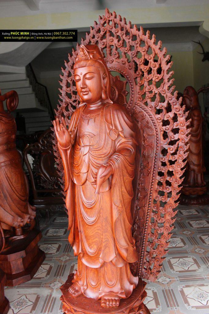 diện tượng Quan âm, dien tuong quan am, tây phương tam thánh, tay phuong tam thanh, tượng quan âm đứng, tuong quan am dung