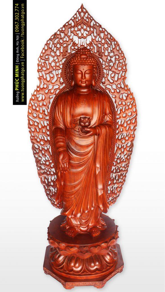 Tôn tượng Phật A Di Đà đứng phiên bản 2020, cao 190cm, gỗ hương ta