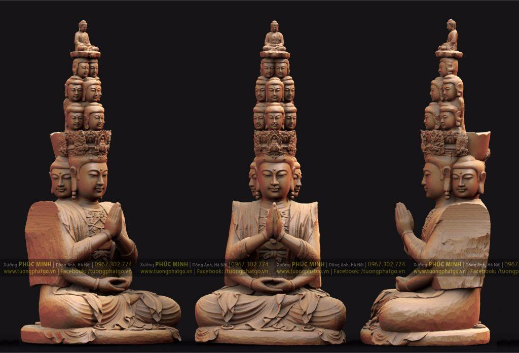 Phần thân tôn tượng Thiên Thủ Thiên Nhãn Quan âm lối Thiền ấn cao 360cm