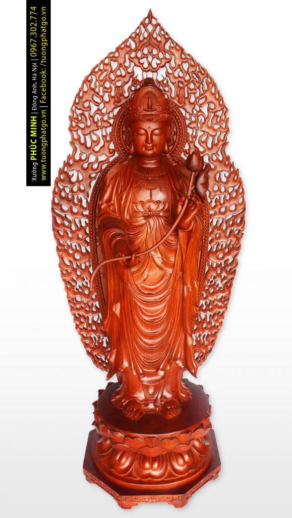 Tôn tượng Đại thế chí Bồ tát đứng phiên bản 2020, cao 190cm, gỗ hương ta