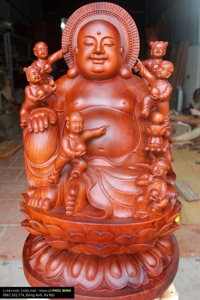 Tôn tượng Di lặc và Lục căn cao 56cm, gỗ Hương, Phật tử TP. HCM thỉnh