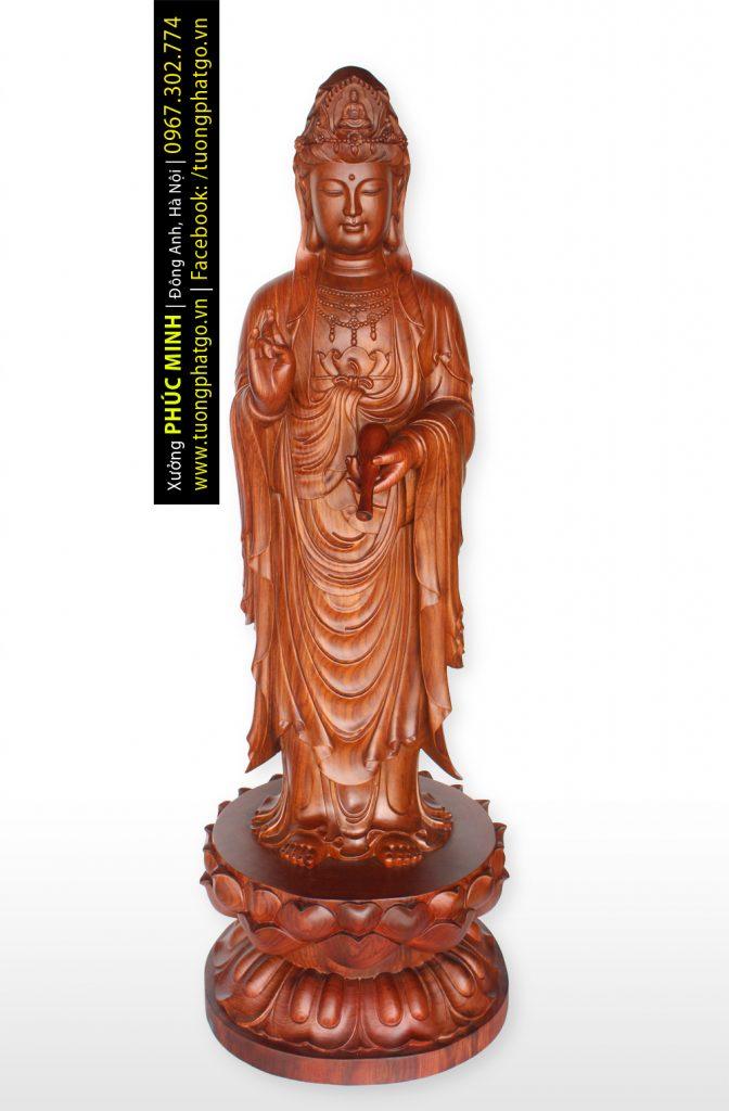 Tôn tượng Quan âm Bồ tát đứng phiên bản 2020, cao 190cm, gỗ hương ta