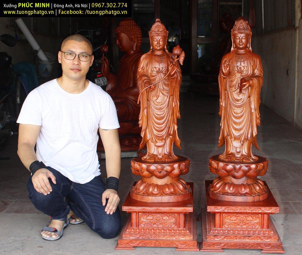Tôn tượng Quan âm Bồ tát và Đại thế chí Bồ tát đứng cao 1 mét