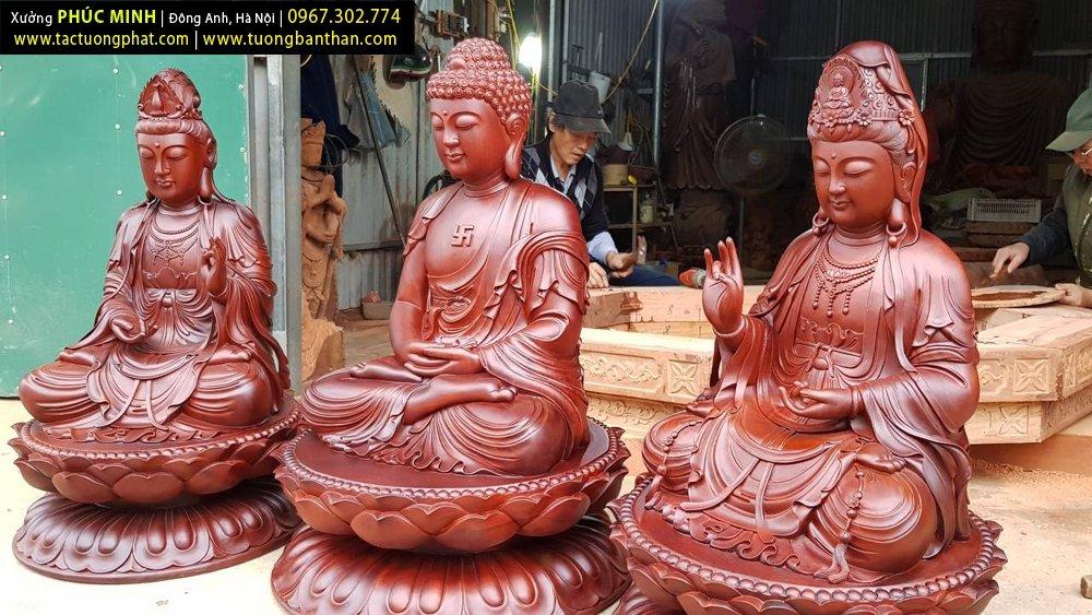 Bộ tôn tượng Tây phương Tam thánh cao 86-81-81cm