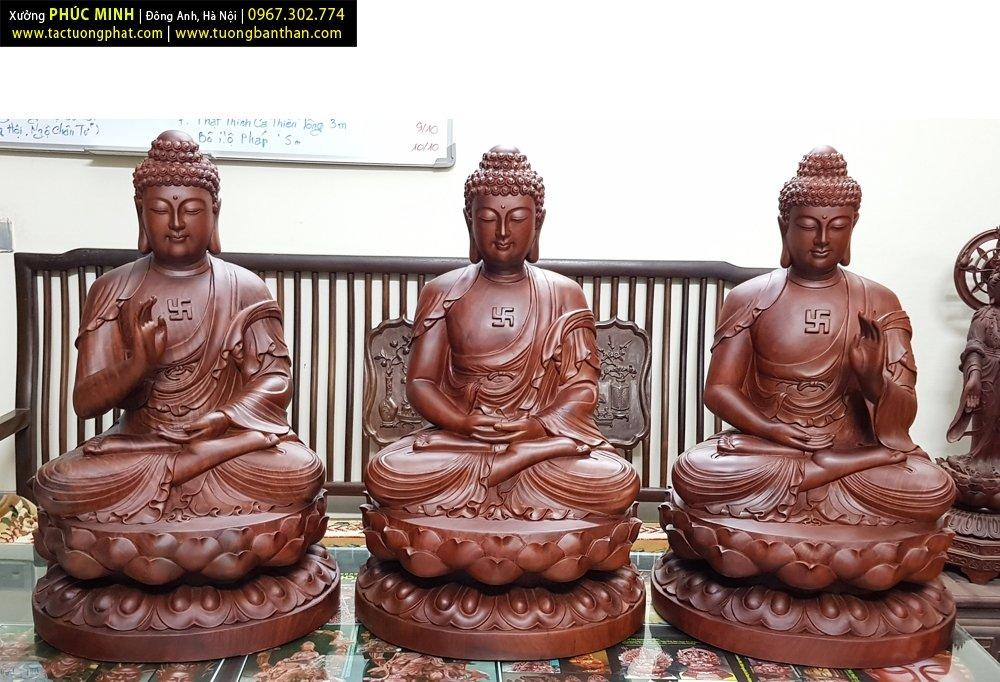 Bộ tôn tượng Tam thế Phật cao 60cm