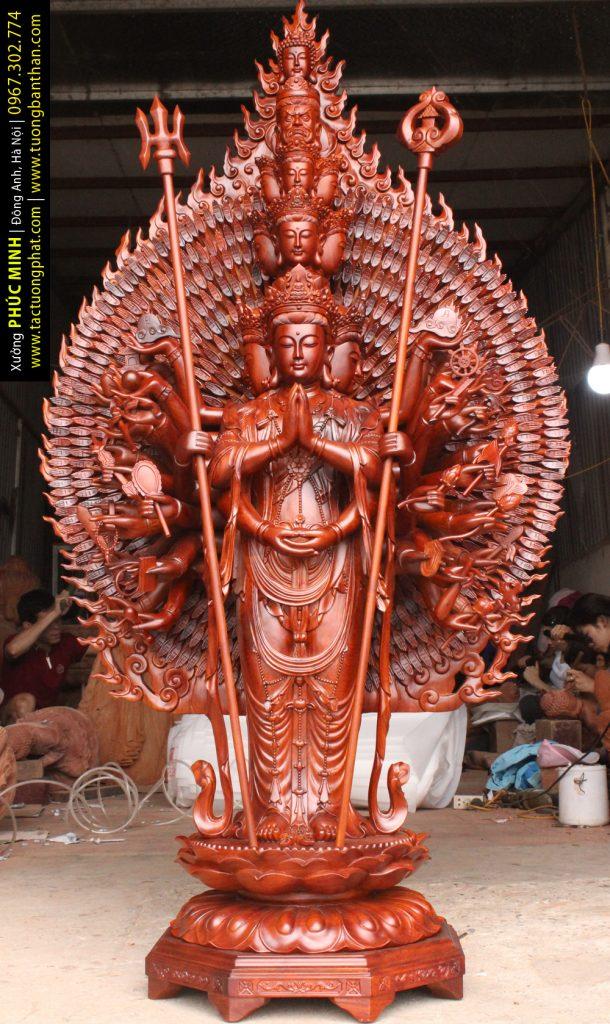 Tôn tượng Thiên Thủ Thiên Nhãn Thập Nhất Diện Quan Thế Âm Bồ tát đứng, cao 1.25m