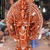 Tôn tượng Thiên thủ Thiên nhãn Thập nhất Diện Quán Thế Âm Bồ tát đứng 42 thủ ấn Mật tông cao 1.25m