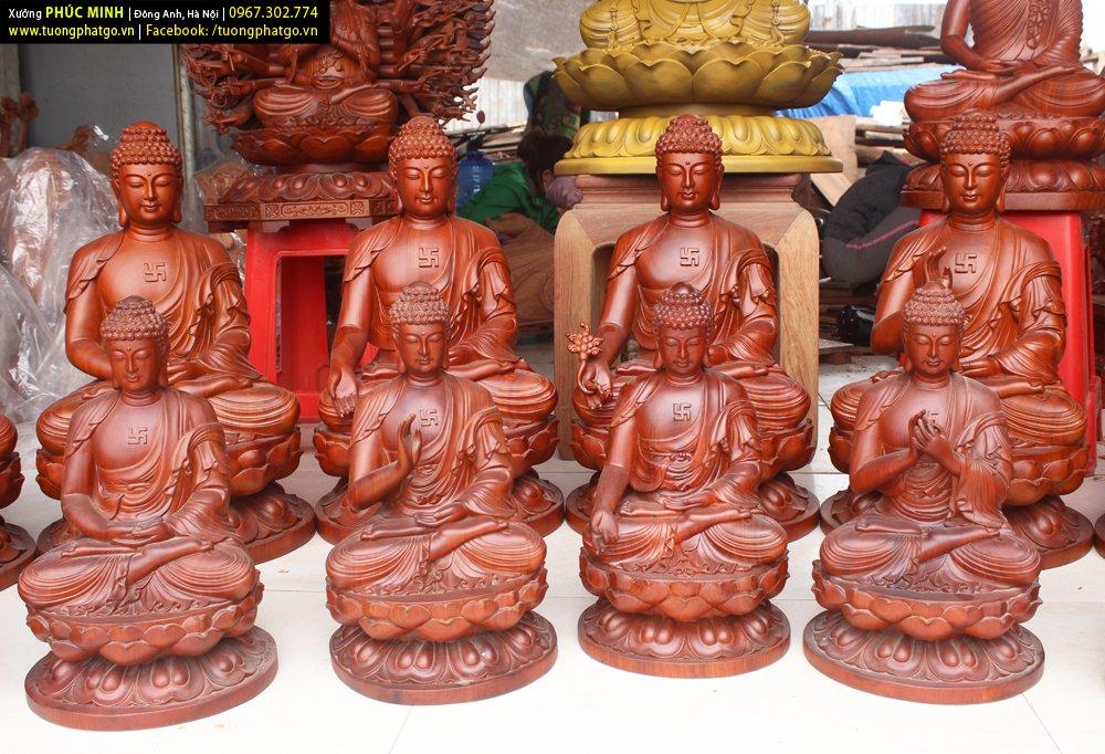 Các tôn tượng của Xưởng tượng Phật gỗ Phúc Minh làm sẵn, đã được thỉnh