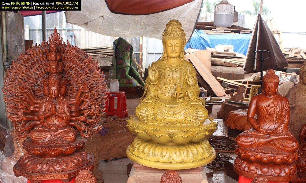 Các tôn tượng đang có sẵn của Xưởng tượng Phật gỗ Phúc Minh